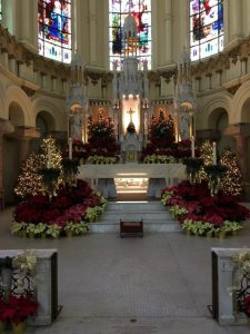 church decorated for Christmas